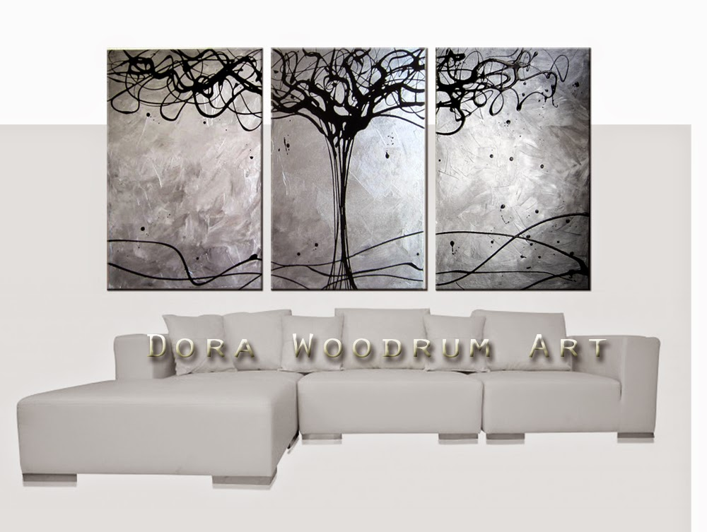 "Abstract Painting ""Tree of Life -Silver"" by Dora Woodrum"