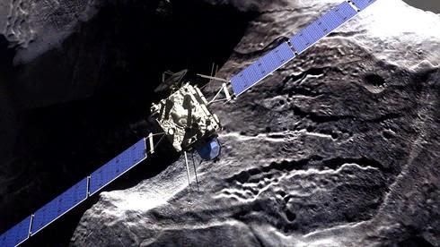 """Η φωτογραφία δείχνει την προσομοιωμένη προσέγγιση του διαστημικού του σκάφους Rosetta στον κρατήρα Philae στον κομήτη """"67P / Tschurjumow-Gerassimenko."""