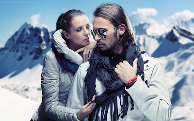 Romantic love couple in mountain with snow wallpapers