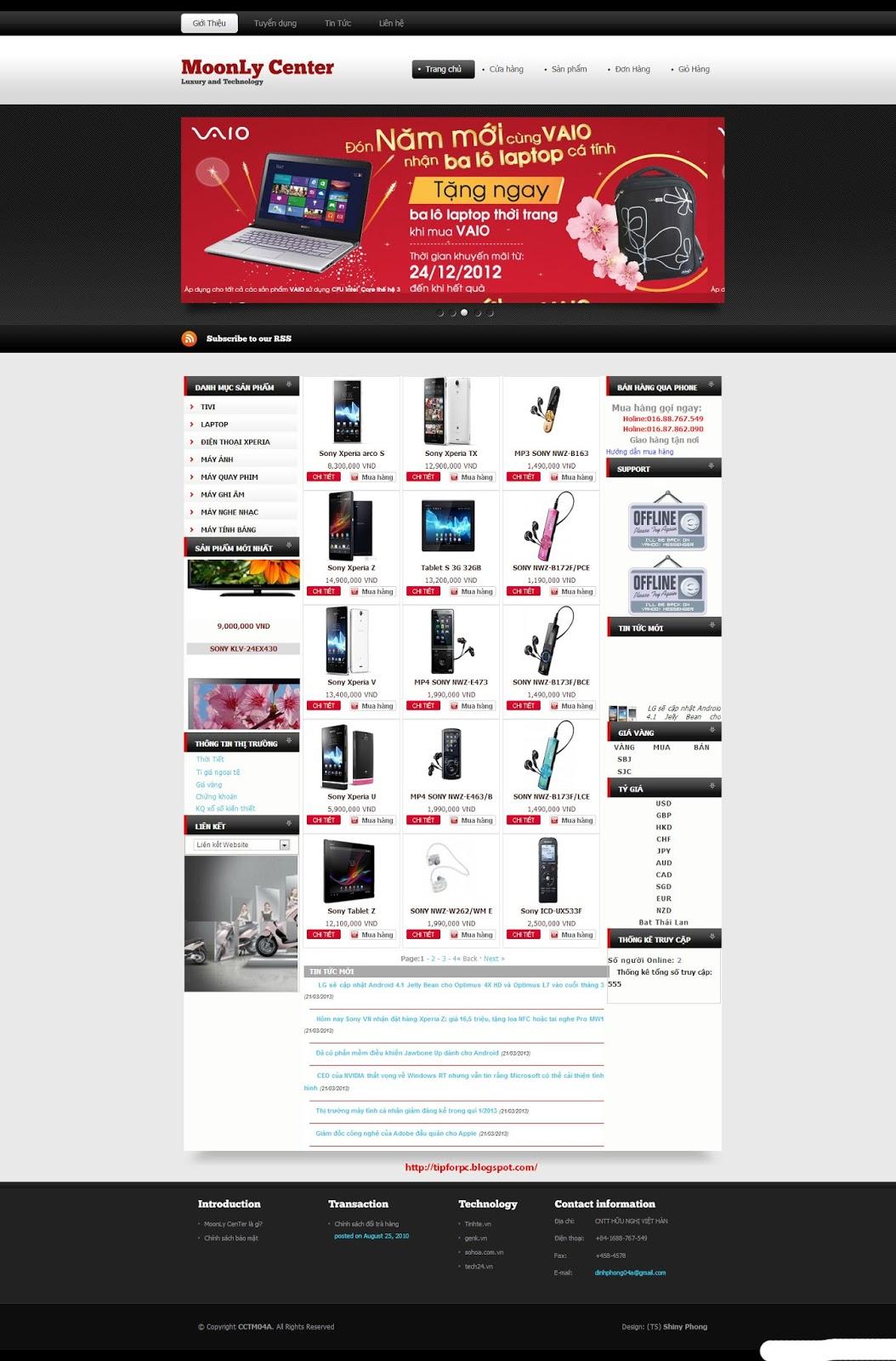 Source ASP.Net Mã nguồn Website bán hàng SONY