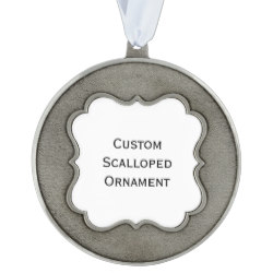 Custom Round Scalloped Pewter Photo Christmas Ornament
