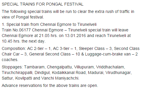 Pongal special train (13-01-2016) Chennai Egmore to Tirunelveli (via Villupuram, Tiruchchirappalli, Dindigul,Madurai, Virudhunagar, Kovilpatti and Vanchi Maniyachchi)