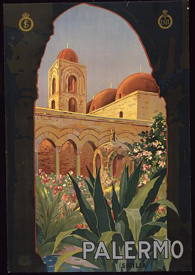classic posters, graphic design, italian poster, retro prints, travel, travel posters, vintage, vintage posters, Palermo, Sicilia - Vintage Italy Travel Poster