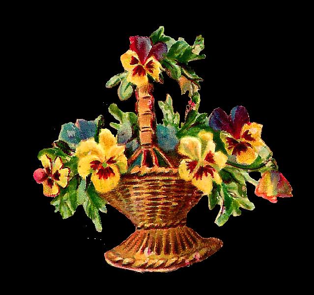 Basket of flowers clip art