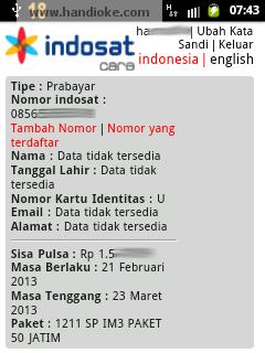 Indosat Care - Beranda Akun