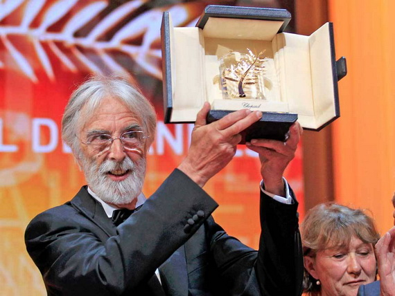 Michael Haneke picks up Palme d&#39; Or for Amour, Cannes 2012