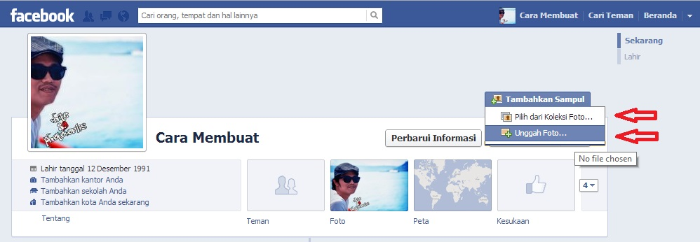 """Pilih foto yang akan dijadikan sampul facebook klik """" Tambahkan sampul"""
