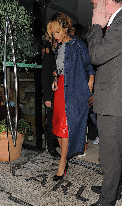 Rihanna arriving at San Carlos Restaurant in Manchester