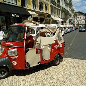 Colourful Rickshaw in Baixa Chaida of Lisbon.