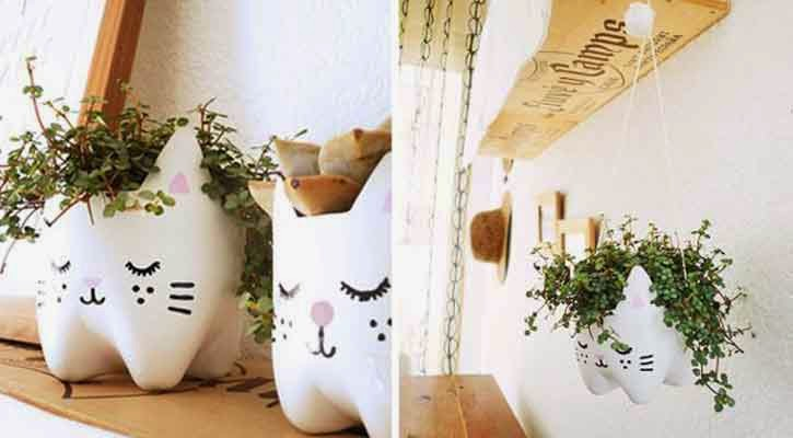 Kitty Shaped mini Garden from Plastic Bottle's Lower Part