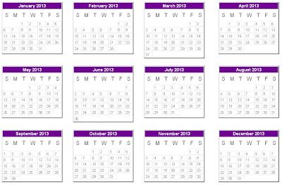 Contoh kalender 2013