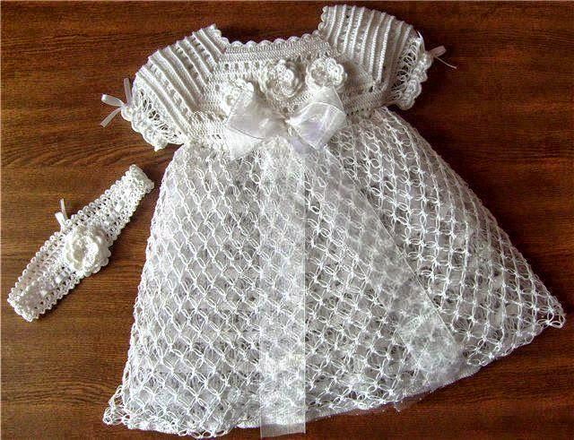 Vestido de bautismo para niña con patrones en español | Todo crochet
