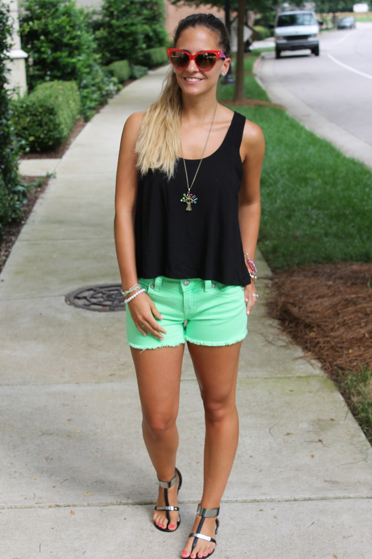 bedazzles after dark outfit post neon cutoffs