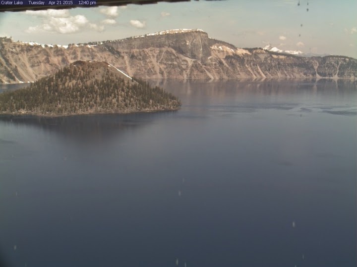 Unusually low snow levels seen at Oregon's Crater Lake on April 21, 2015. (Credit: NPS) Click to Enlarge.