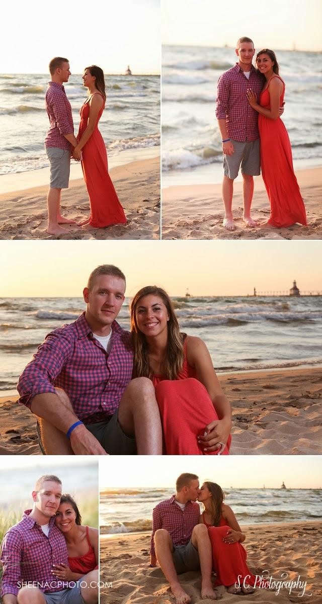 lake michigan beach engagement photos sunset pier lighthouse saint joseph
