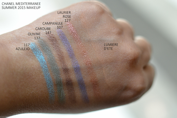 Chanel Mediterranee Summer 2015 Makeup Collection Swatches Azulejo117 Olivine137 Caroube147 Campanule107 Laurier Rose127 Lumiere dete bronzer