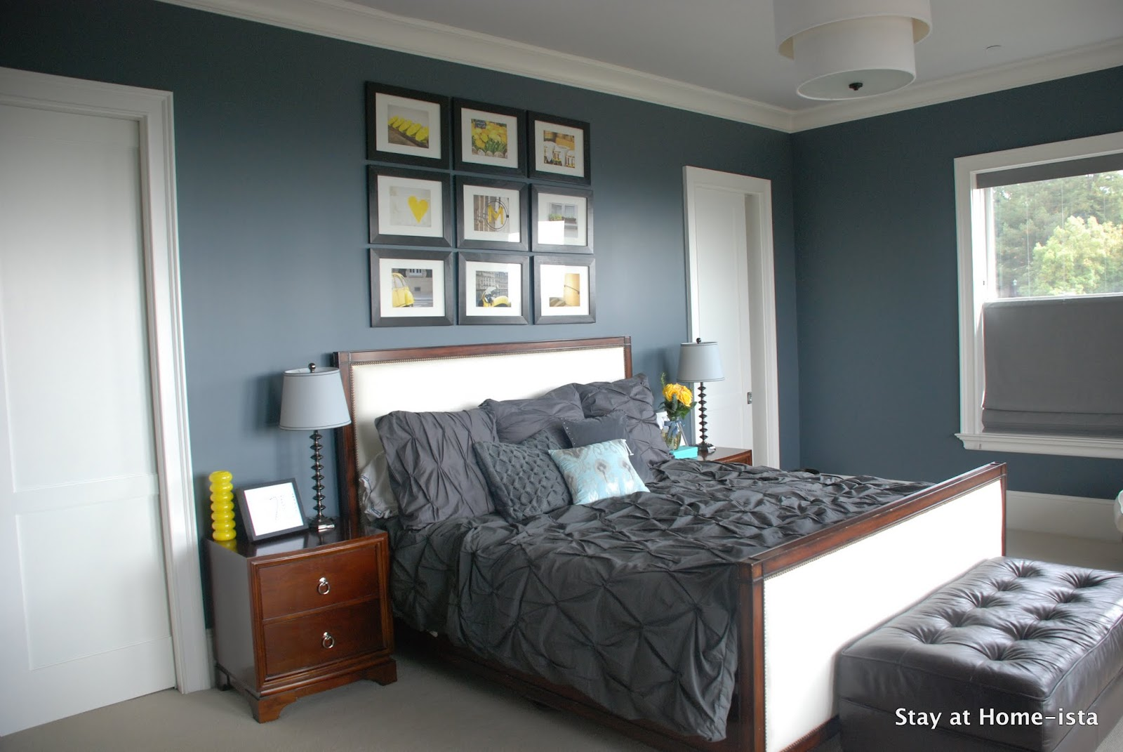 simple master bedroom grey and yellow deep teal mustard charcoal