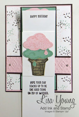 Stampin' Up! Sprinkles of Life stamp set. Waterfall Card technique. Ice Cream Cone card. Handmade birthday card by Lisa Young, Add Ink and Stamp