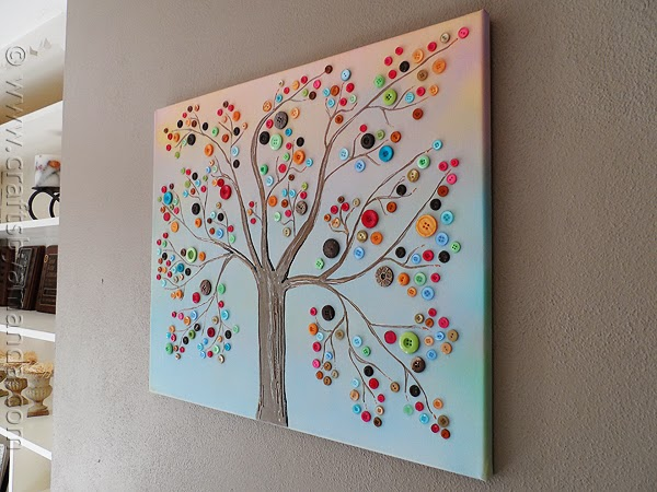 DIY Vibrant Button Tree Wall Art - DIY Craft Projects