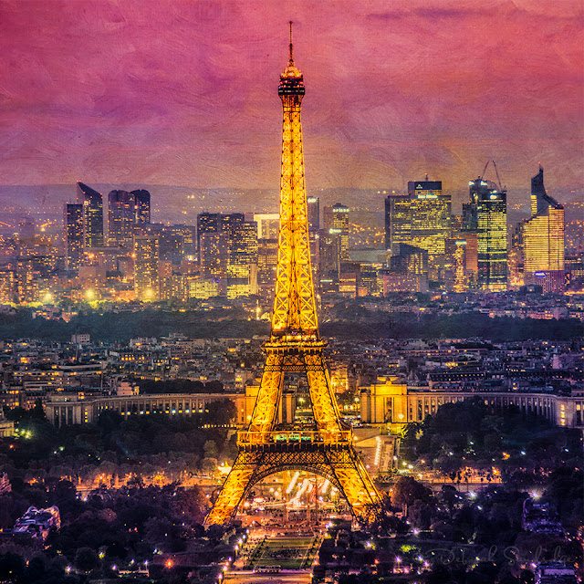 pink painterly texture of the Eiffel Tower at night