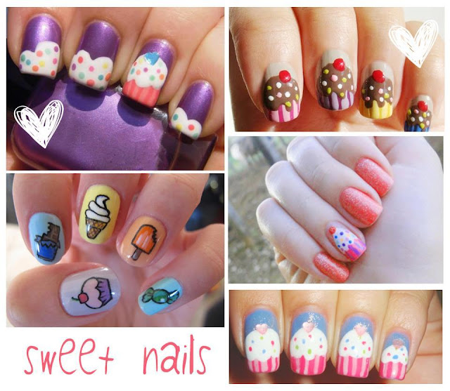 uñas dulces sweet nails cupcakes
