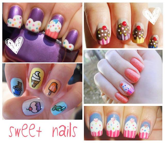 uñas dulces sweet nails cupcakes