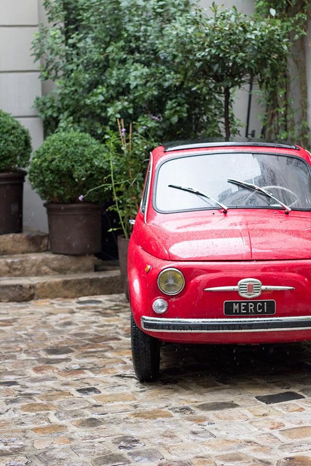 Red car at Merci in Paris.