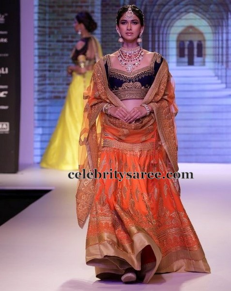Orange and Black Lehenga