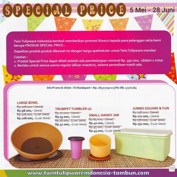 Special Price Tulipware 2014, Large Bowl, Trumpet Tumbler, Small Handy Jar, Jumbo Square Fun