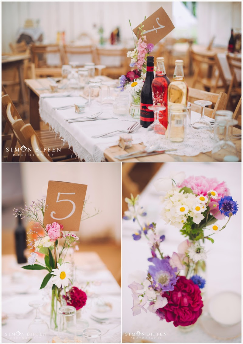 Roughmoor Farm wedding details in the marquee