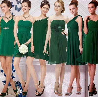 Six-Design Urban Smart Forest Green Bridesmaids Dress