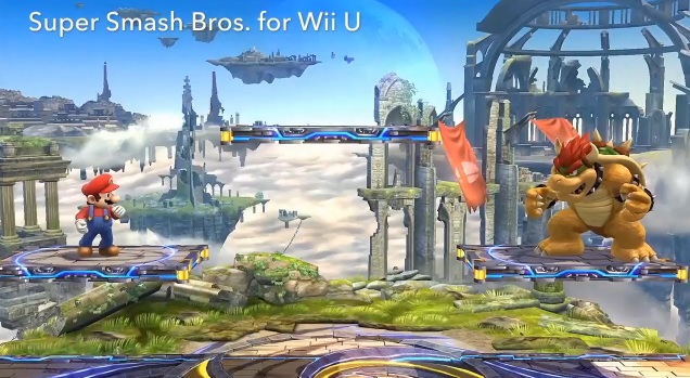 Mario facing Bowser in the Wii U version of Super Smash Bros.