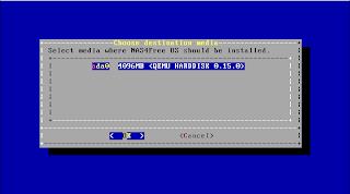 HDD target instalasi NAS4Free