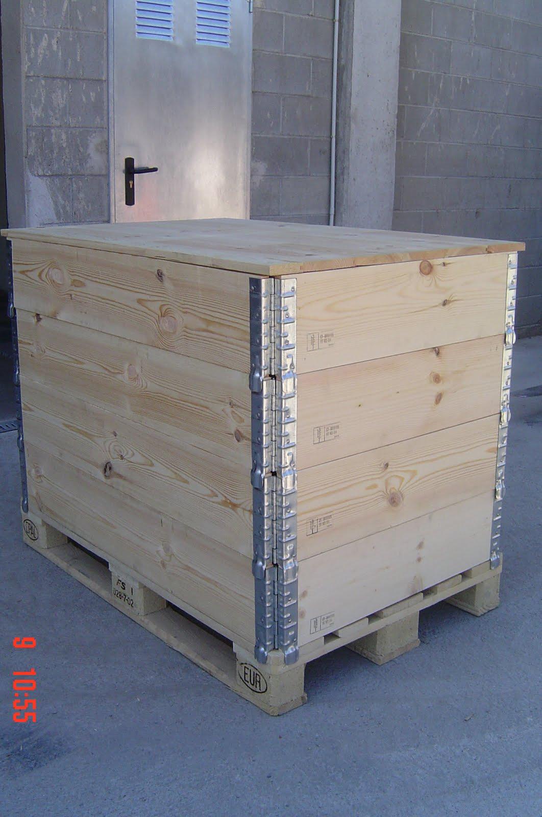 Inka palets barcelona 5 1 cajas m dulos de madera cercos aros plegables con tratamiento ispm15 - Cajas madera barcelona ...
