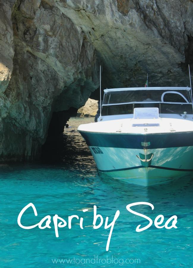 boat in blue lagoon, Capri, Italy