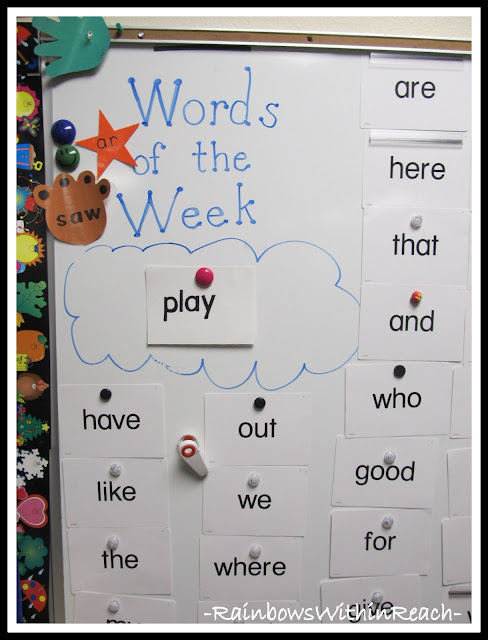 Words of the Week Word Wall in Kindergarten (from Word Wall Round Up)