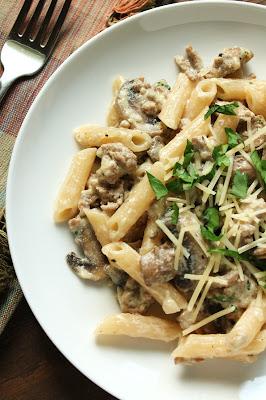 Creamy Italian Turkey Penne with Mushrooms