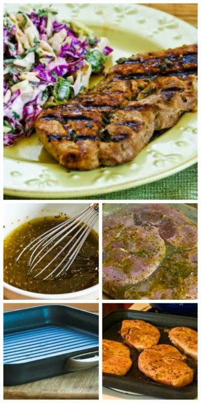 Greek-Seasoned  Grilled Pork Chops Recipe with Lemon and Oregano found on KalynsKitchen.com