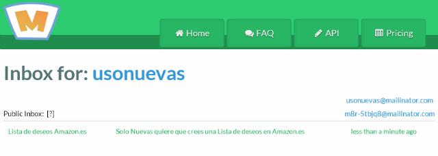 Uso de Mailinator primer mensaje desde Amazon