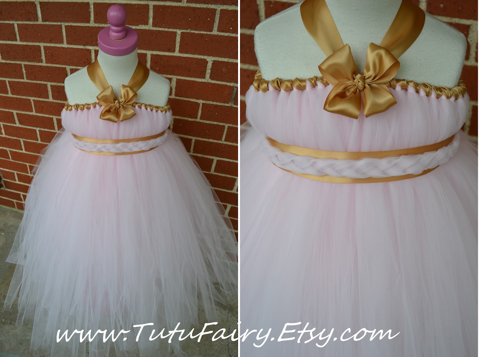 My Creative Way Light Pink & Gold Flower Girl Dress