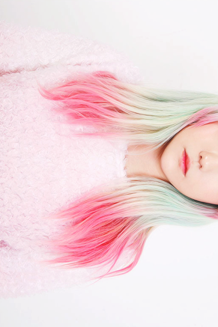 Ombre Green and Pink Hair