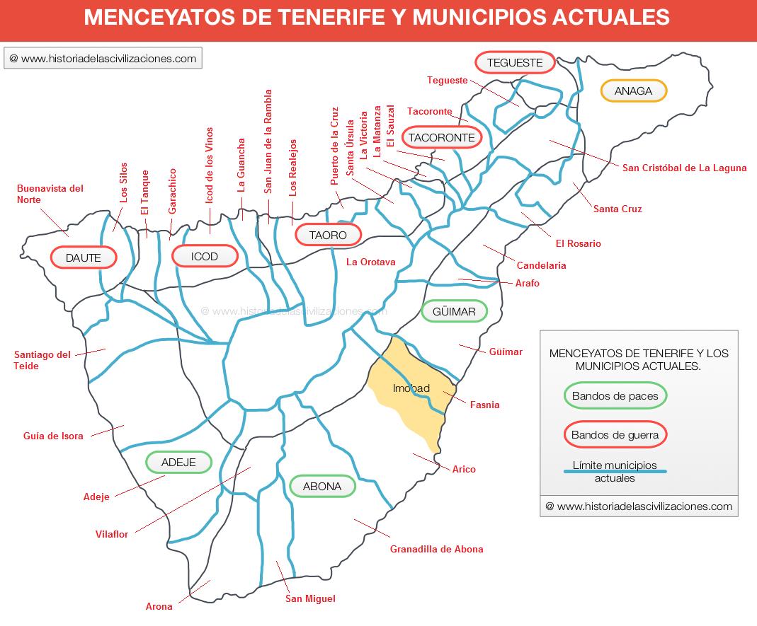 Menceyatos de Tenerife y los municipios actuales. Fuente: Elaboración propia. ©historiadelascivilizaciones.com