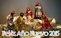 Pinito de Navidad con luces de colores y mensaje Feliz Año Nuevo 2015