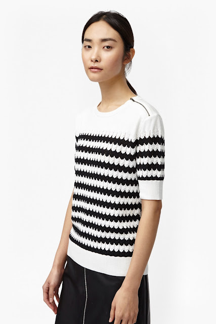 french connection black white chevron top, black white chevron jumper,
