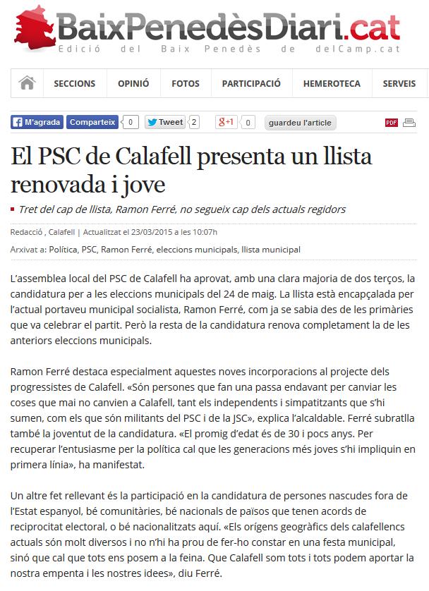El PSC de Calafell presenta un llista renovada i jove