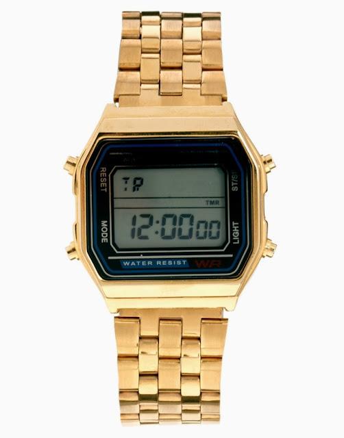 gold digital watch
