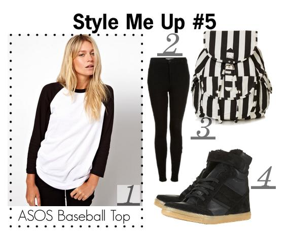 Style collage including the ASOS Baseball Top