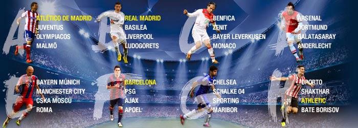 UEFA CHAMPIONS LEAGUE GROUPS 2014-2015
