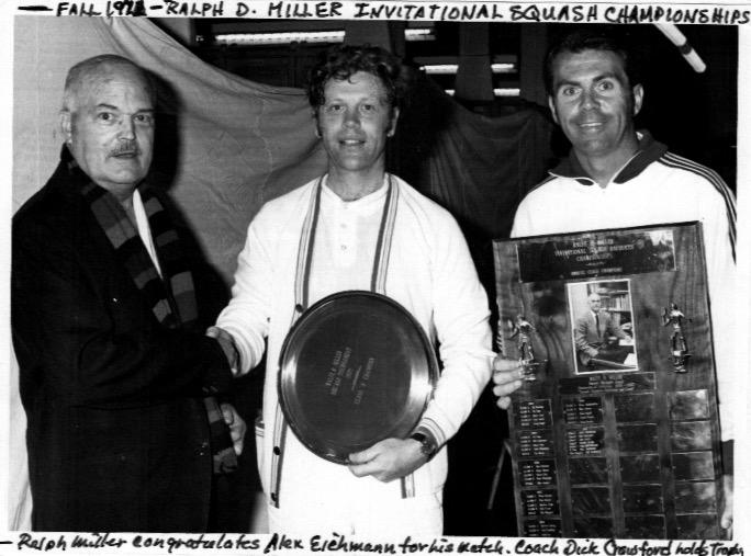 Ralfe Miller presents Alex Eichmann with his eponymous trophy; photo 2004 courtesy of Alex Eichmann