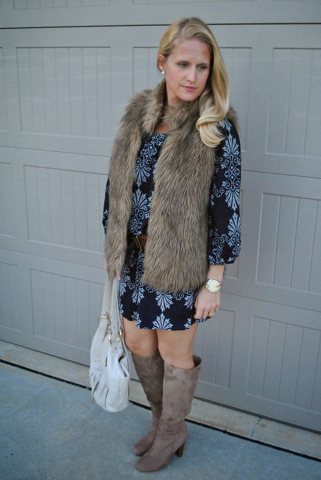 Forever 21 Shift Dress Stacked Heel Beige Boots Fur Vest~The Army Life of an Aviators Wife